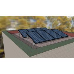Sestava pro rovnou střechu; panely na hliníkové konstrukci 35°
